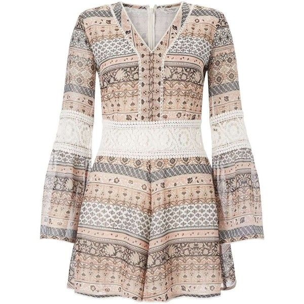 Miss Selfridge Printed Lace Insert Playsuit ($68) ❤ liked on Polyvore featuring jumpsuits, rompers, assorted, miss selfridge, long sleeve romper, long-sleeve rompers, playsuit romper and long sleeve rompers