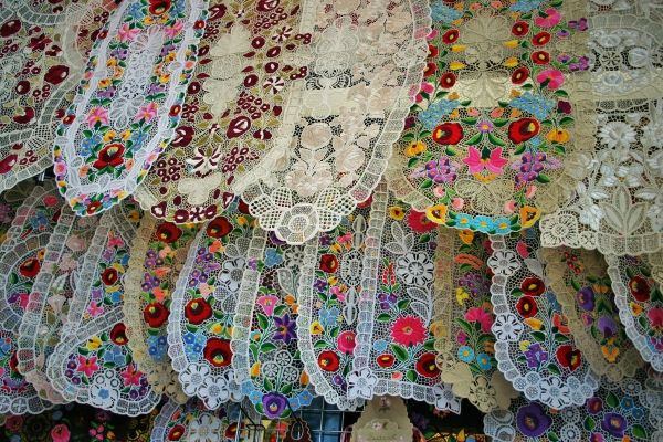 Budapest Central Market Hall - Hungarian embroidery motives from Matyo and Kalocsa region