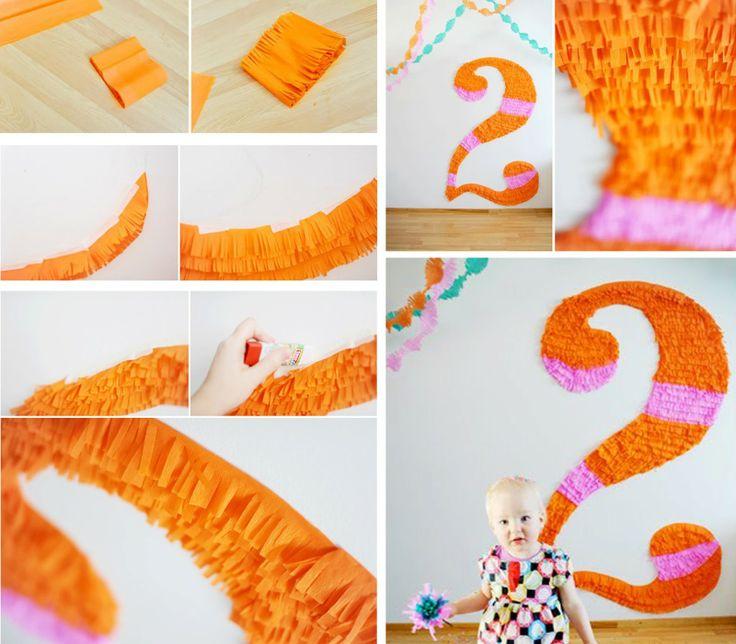 nmeros hechos con papel para decorar fiestas