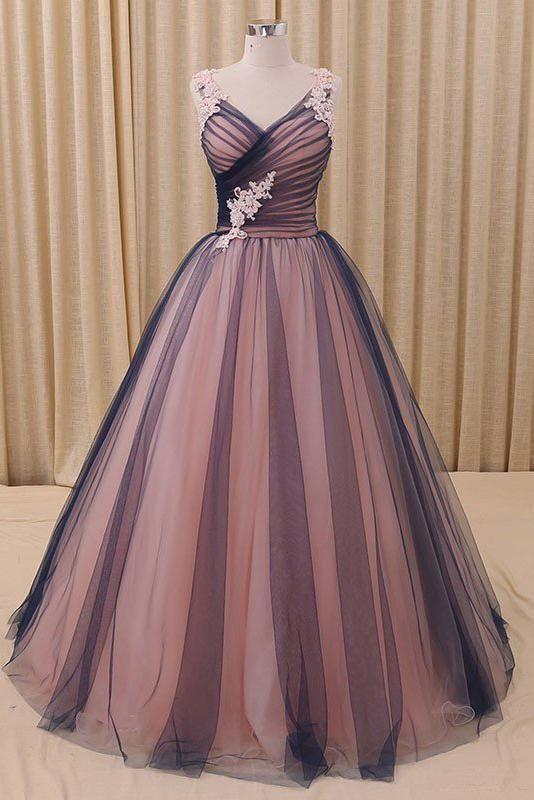 Ballkleid mit V-Ausschnitt Dunkelblaues Tüll Abiballkleid mit Applikationen, Puffy Langes Quinceanera Kleid N1438