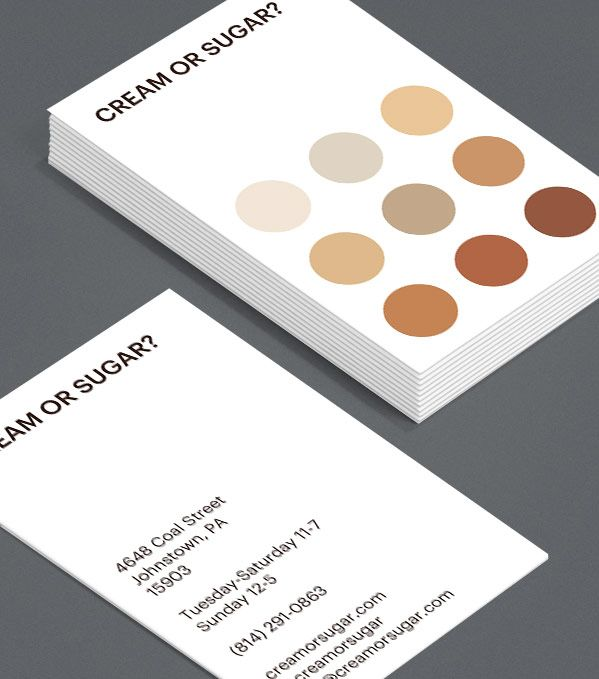 Cream Or Sugar? Everyone has a way they like their tea or coffee. This bold and simple design represents them all. Use it as a coffee loyalty card or as a Business Card for a café. #moocards #luxebymoo #businesscards