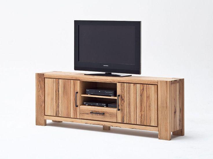 Szfka RTV z drewna dębowego Solid