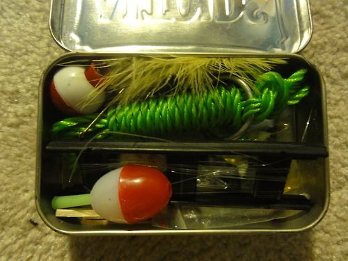 Nylon String Floats Hooks Bait Rope in an Altoids mint box for Operation Christmas Child Shoeboxes