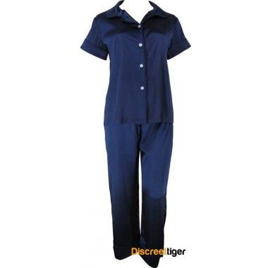 NAVY BLUE SATIN AUTUMN / SPRING PYJAMAS For those that tend to feel like hot stuff even when the weather can be quite cool, then these are just the right amount of coverage for you. Navy short sleeve button up shirt and draw string pants. @discreettiger #loungewear #everydaywear #comfort #ladiessleepwear #plussize #petite #navy #Autumn #springwear http://www.discreettiger.com.au/sleepwear/satin-pyjamas/navy-blue-satin-autumn-spring-pyjamas