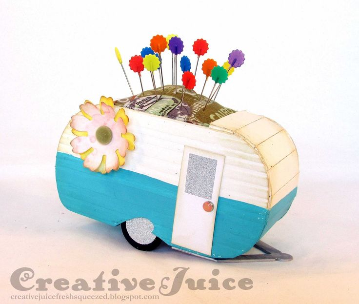 Lisa Hoel – Vintage Trailer pincushion with Eileen Hull's Sizzix dies