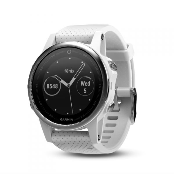 Garmin Fenix 5S - White with White Band - For serious athletes and adventurers who want to do more, not wear more – fēnix 5S is the perfect fit. This premium multisport watch that offers full-size performance in a lighter, sleeker, more compact design. Advanced features such as wrist-based heart rate, built-in activity profiles, navigation functions, & performance metrics that measure the effectiveness of your workout. It's one smart sportwatch.