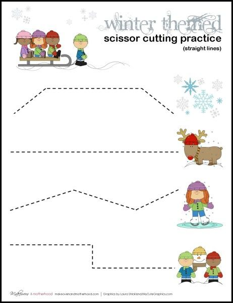 Free Winter scissor cutting practice sheets from Makeovers & Motherhood