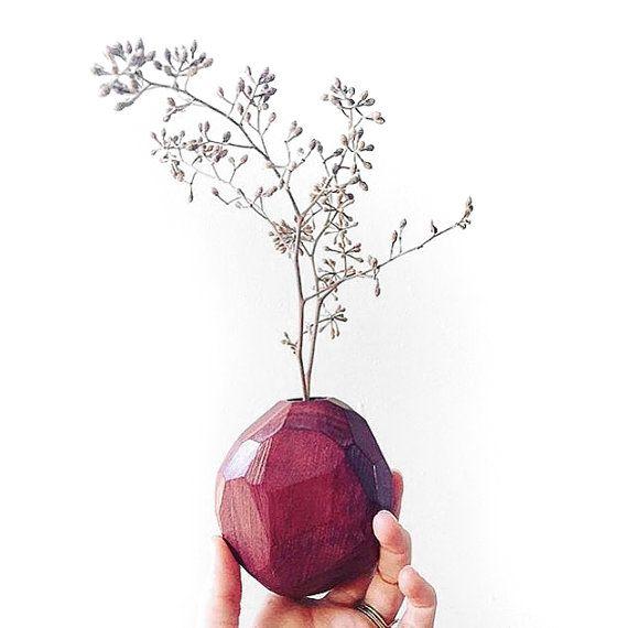 Faceted Bud Vase - Purpleheart Hardwood - No Stain Used - Geometric Flower Bud Vase