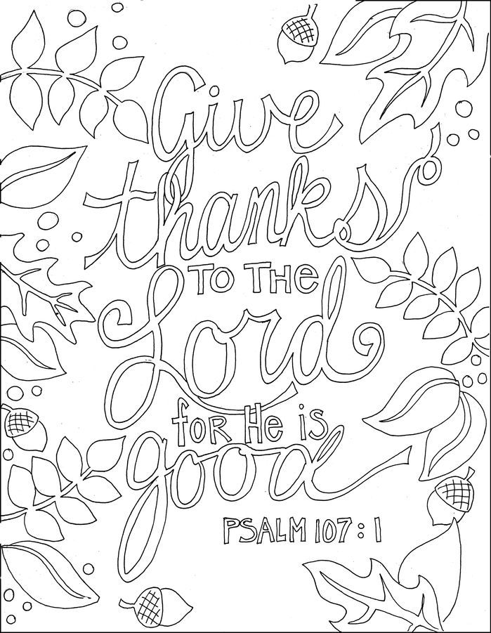 Give Thanks To The Lord Bible Verse Coloring Page Bible Coloring Pages Bible Coloring