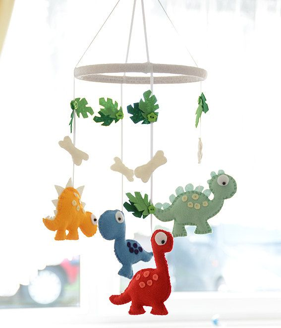 Nursery Mobile - Baby  Dinosaur Mobile  - Felt Dinosaurs -  MADE TO ORDER - Choose you own colours