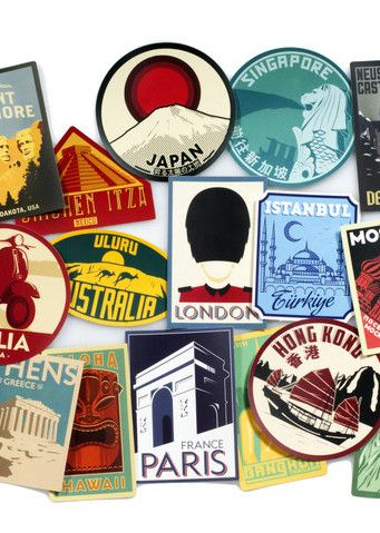 Show off your travels and transform your worn out suitcase with these retro luggage labels