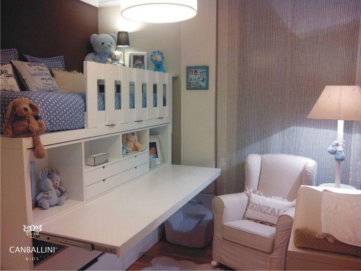 Litera con escritorio extraible para habitaciones for Cuartos para ninas literas