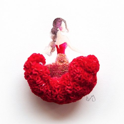Dance! This red flare dress is made of a single cockscomb flower. Cockscomb is one of the festive plants commonly found here during Chinese New Year. They are usually planted in a pair of pots and placed at doorways, representing double happiness for the family and home.