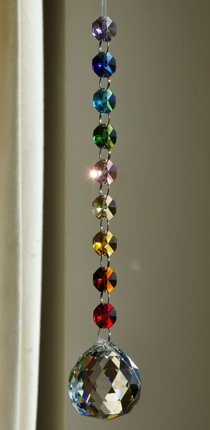 40 mm crystal spectra ball octagon suncatcher feng shui chakra elements mandala