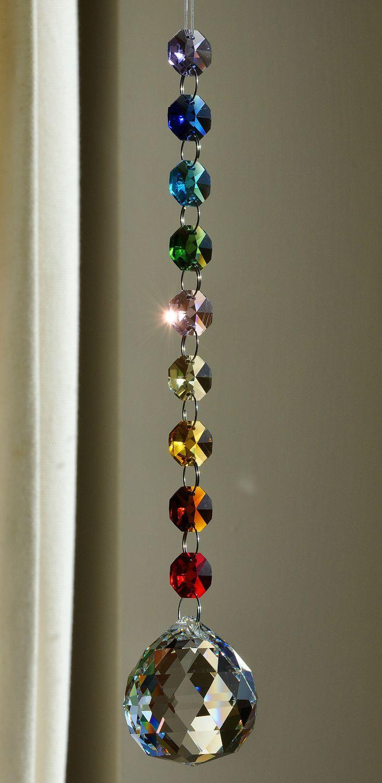 40 mm crystal spectra ball octagon suncatcher feng shui chakra elements mandala