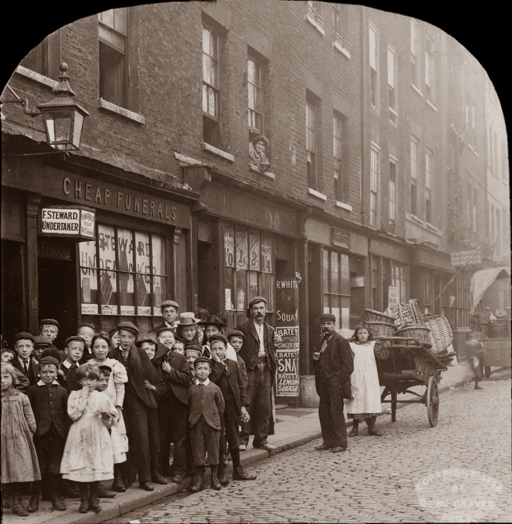 So, cheap funerals it is ...  The London of Charles Dickens, 1900, C. Graves, stereograph
