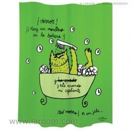 """Laroom - Cortina baño """"monstruo"""" verde polyester - Laroom diseña los productos para Baño más bonitos del mundo - www.laroom.com (producto diseñado y fabricado por Laroom con ilustración de anna llenas)"""
