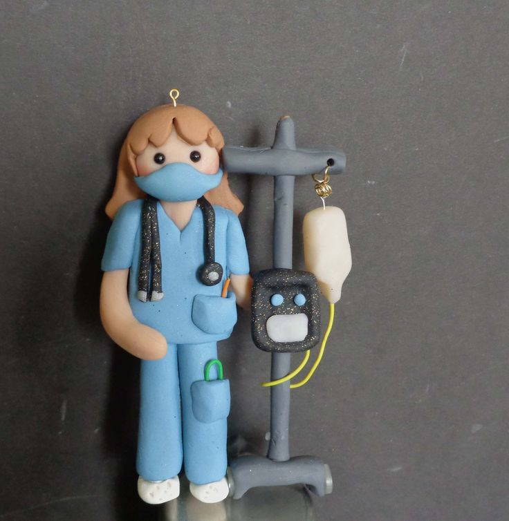 Nurse IV Cart Christmas Ornament Mask Hero Stethoscope