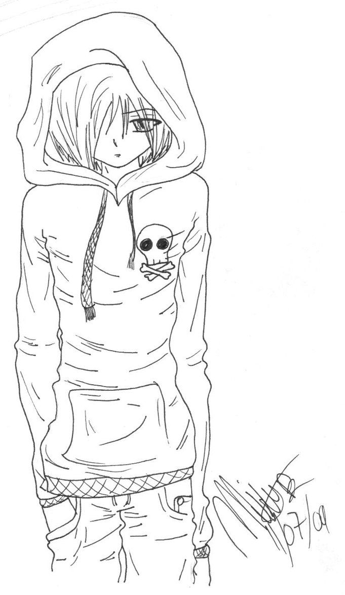Coloring pages emo - Emo Anime Guy