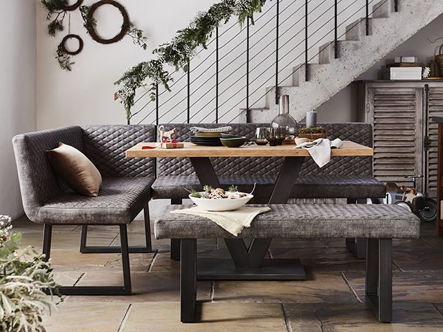Compact Earth Dining Table Left Hand Facing Corner Bench And Low Dining Bench In 2021 Bench Dining Room Table Dining Room Bench Seating Corner Dining Table
