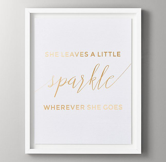 Quotes Metallic Foil Art - She Leaves a Little Sparkle
