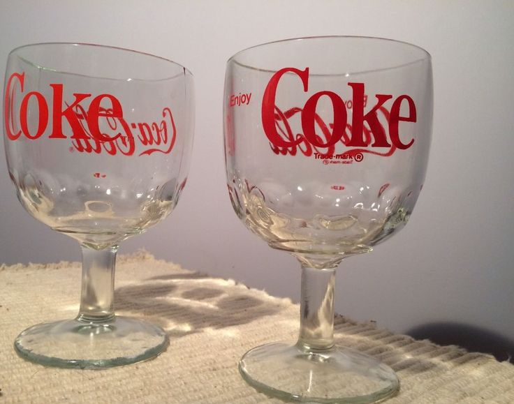 2 Vintage Coca Cola Footed Glass Thumbprint Goblets-COKE and Enjoy Coca Cola #CocaCola