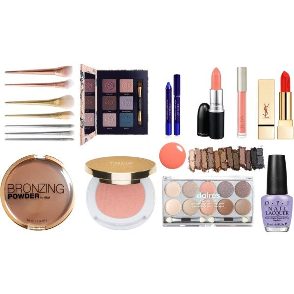 kosmetyki dla wiosny by innooka on Polyvore featuring uroda, Tory Burch, Urban Decay, PUR, Isaac Mizrahi, Ilia, By Terry, MAC Cosmetics, claire's and H&M