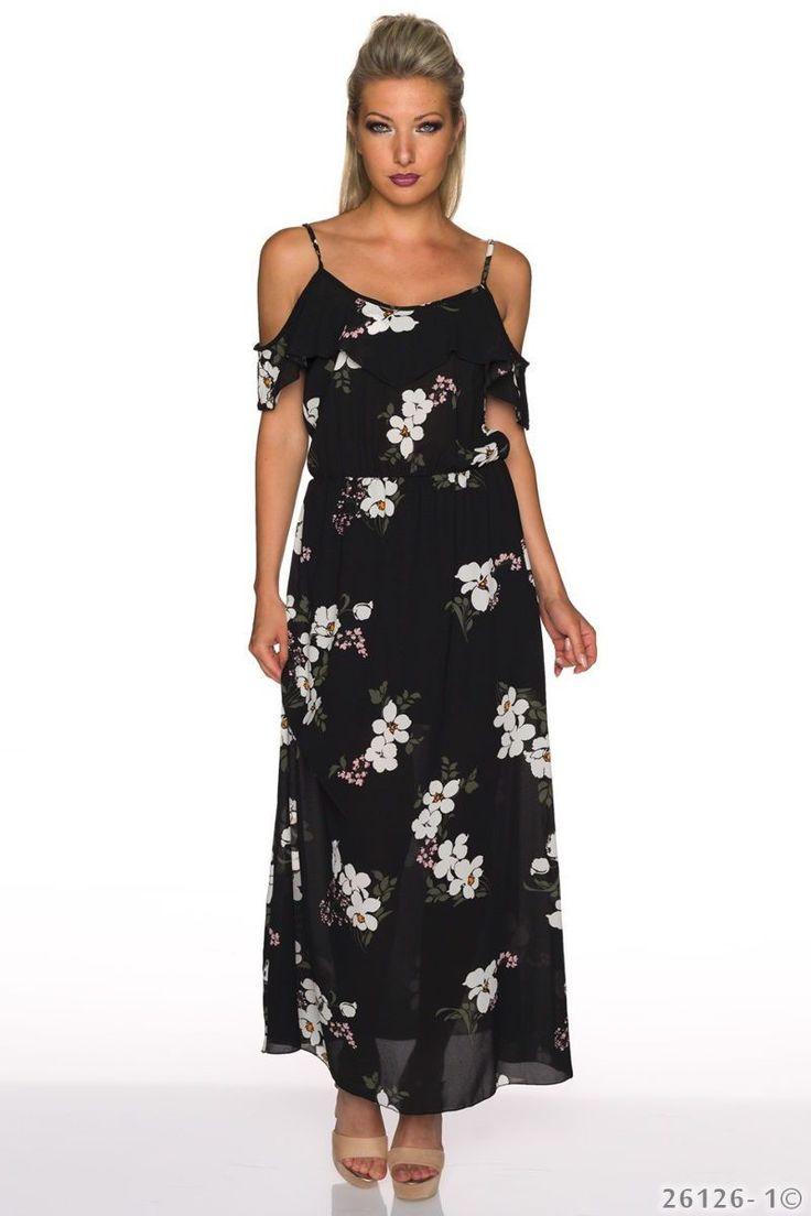 Σιφόν φλοράλ μάξι φόρεμα μεανοίγματα στους ώμους.Ύψος μοντέλου: 1,72m100% Polyester
