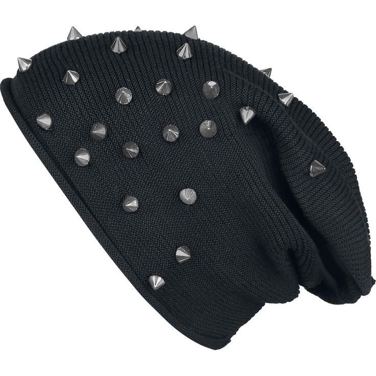 Light, with studs decorated knitted beanie.