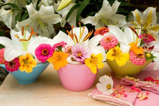 Small Mixed Garden Flower Arrangements Including Lilies