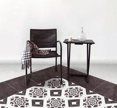 """Modèle """"ART DÉCO"""" décor. Ép. 8 mm. Le carton de 1,50 m². Art déco noir + décor : groupe 2. Art déco blanc : groupe 5.  Plinthe assortie : 7,5 x 32,5 c"""