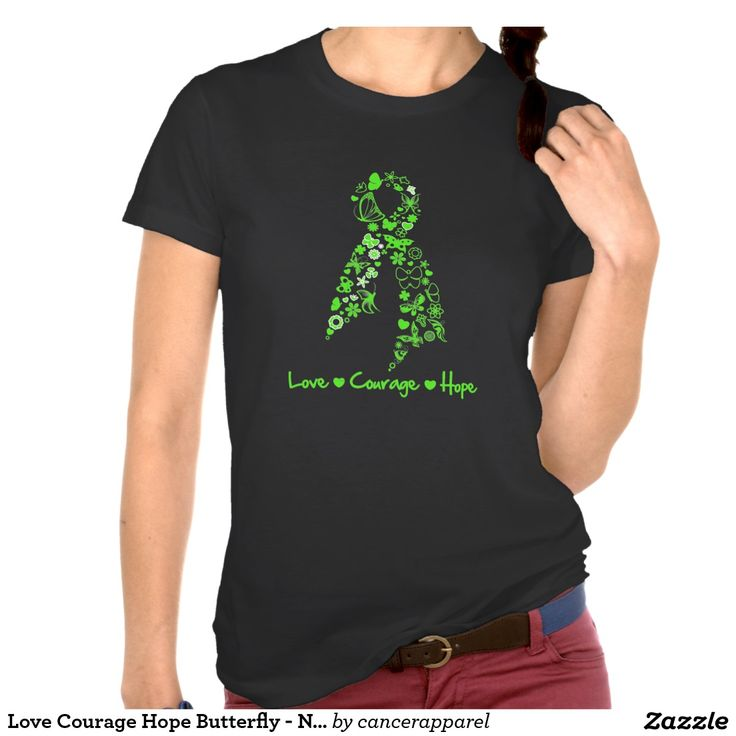 Love Courage Hope Butterfly - Non-Hodgkins Lymphom Tshirt by cancerapparelgifts.com