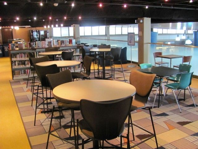 Mix'n'match the levels of the seating and workspaces in the Senior Library - oviously going to look for something more flexible in design but this is the sort of idea. Teen Library Furnishings - http://creativelibraryconcepts.com/portfolio/teen-furniture/#1