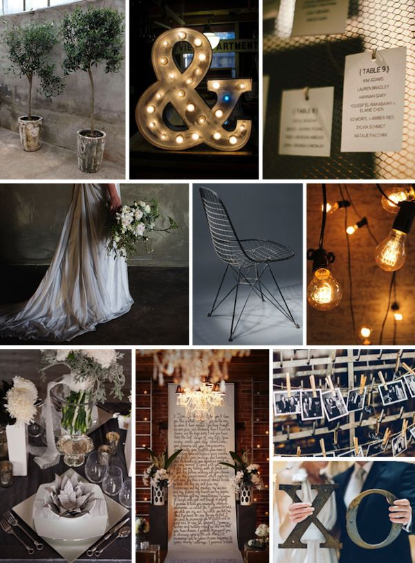 INDUSTRIAL CHIC WEDDING IDEA BOARD                                                                                                                                                      More