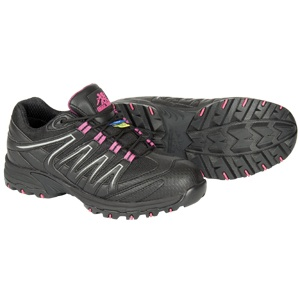 Kris Approach Athletic Static Dissipating Safety Shoe For Women – MAGENTA $119.99 Action leather and mesh upper PK abrasion resistant lining Compression molded EVA midsole Steel toe Static Dissipating External TPU shank ANTI-SLIP and oil resistant rubber outsole Removable cushioned EVA foot bed Meets or exceeds ASTM 2413-05 requirements