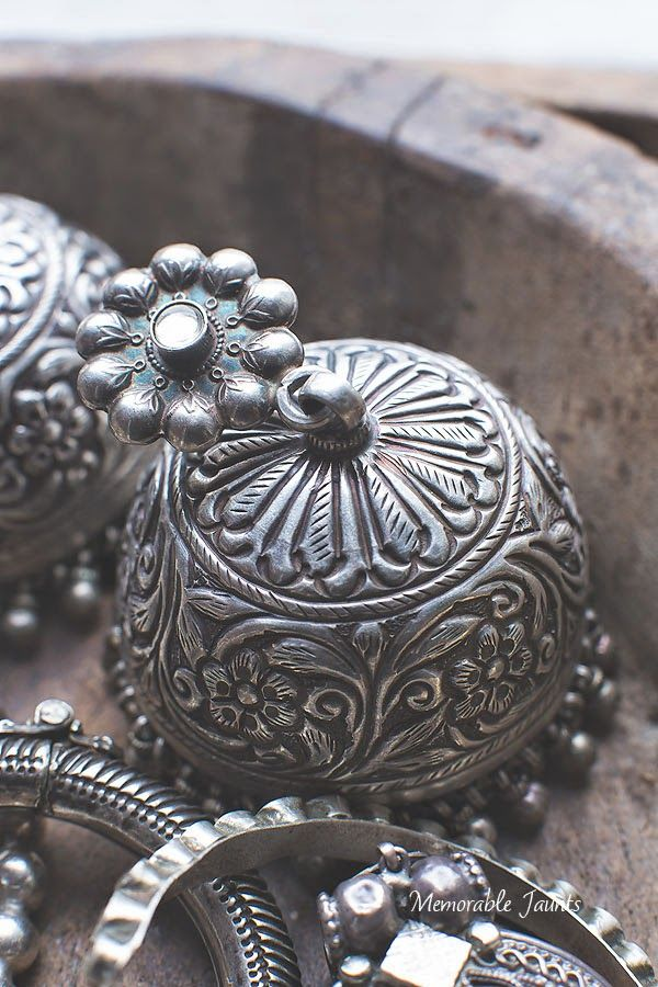 New beautiful handmade repoussé silver jhumka designed and inspired by traditional Rajasthani jewelry