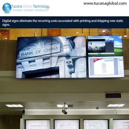 #Digitalsigns eliminate the recurring #costs associated with #printing and shipping new #static #signs. #TucanaGlobalTechnology #Manufacturer #HongKong
