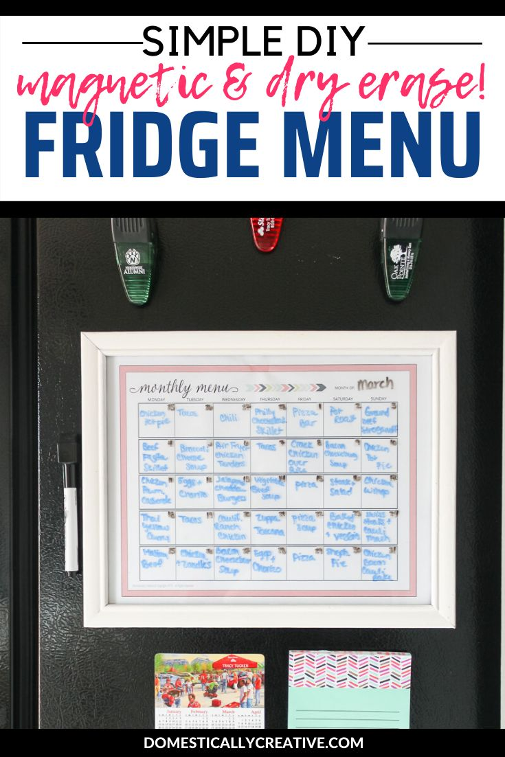 Take any thrift store frame and easily turn it into a magnetic dry erase menu to help you keep track of what's for dinne…