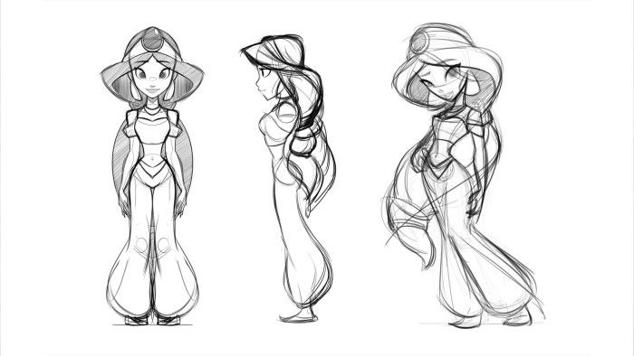 Disney Infinity - Early concept art for Princess Jasmine figure.