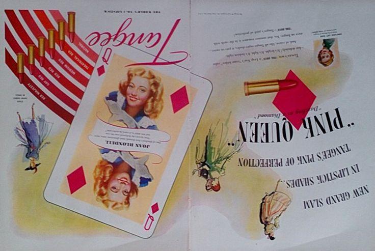 1948 Tangee Lipstick Advertisement - Makeup, Cosmetics, Lipstick Ads, Magazine Ads, Vintage Ads, Beauty, Wall Decor, Vintage Print Ad by Inkart on Etsy https://www.etsy.com/listing/185934613/1948-tangee-lipstick-advertisement