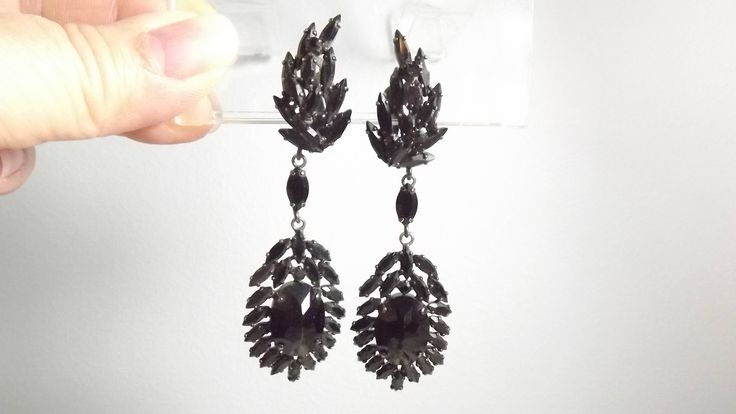 Vintage Signed Sherman Black Rhinestone Clip On Earrings, Dazzling Dangling Darlings by OutrageousVintagious on Etsy