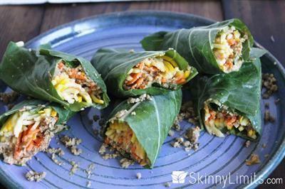 19 Delicious, Bread-Free Veggie Wraps: Raw Vegan Burrito Wraps with yellow zucchini, sun-dried tomatoes, carrot, collard leaves