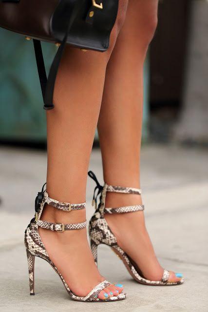 Strappy Aquazzura heels.