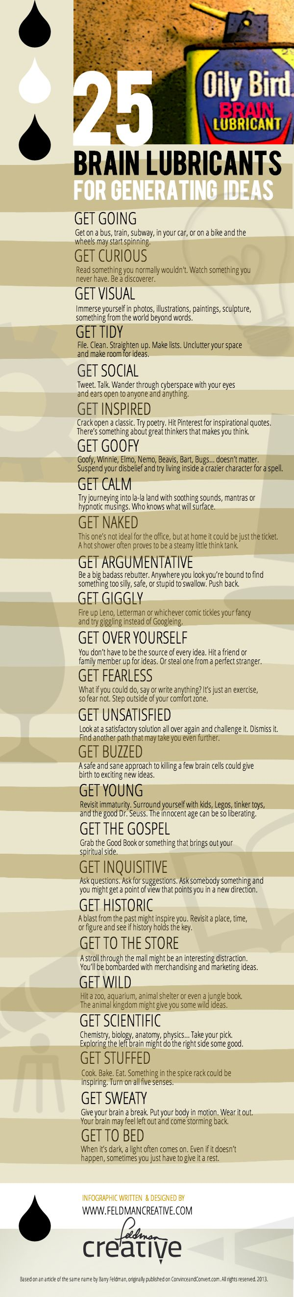 Infographic: 25 Brain Lubricants for Generating Ideas [INFOGRAPHIC]