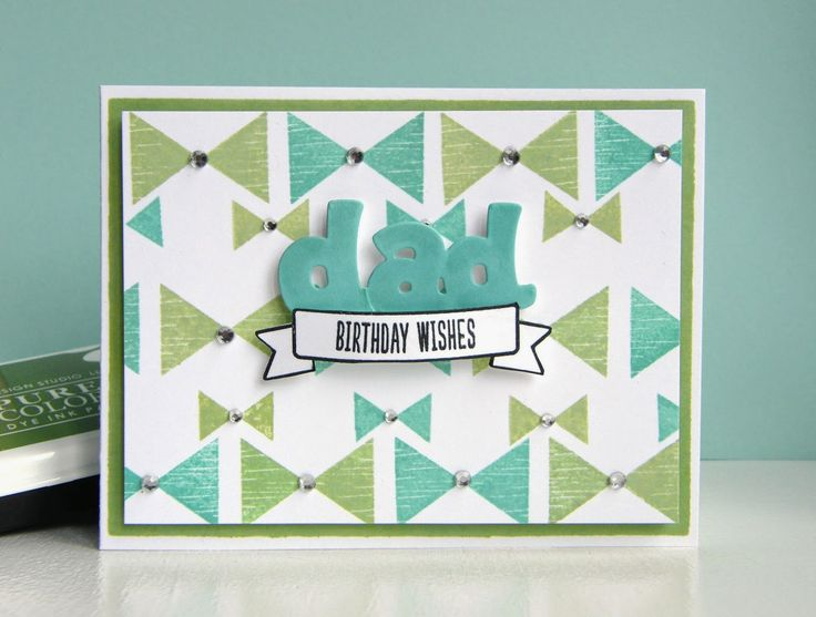 Kara Vrabel for WPlus9 featuring Just Geometrics: Triangles Stamp Set, Basic Banners Stamp Set, Epic Dad Dies, and PURECOLOR Dye Ink