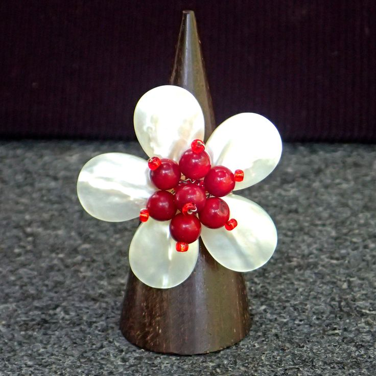 Ring from mother of pearl, red coral. Adjustable, cocktail ring, gemstone, handmade, bridal, flower, wedding, bridesmaid, white coloured by Menir on Etsy