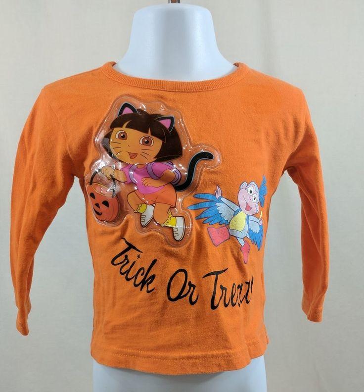Nickelodeon Girls 4-5 Shirt Halloween Dora Long Sleeve Orange (N)  #Nickelodeon #Holiday