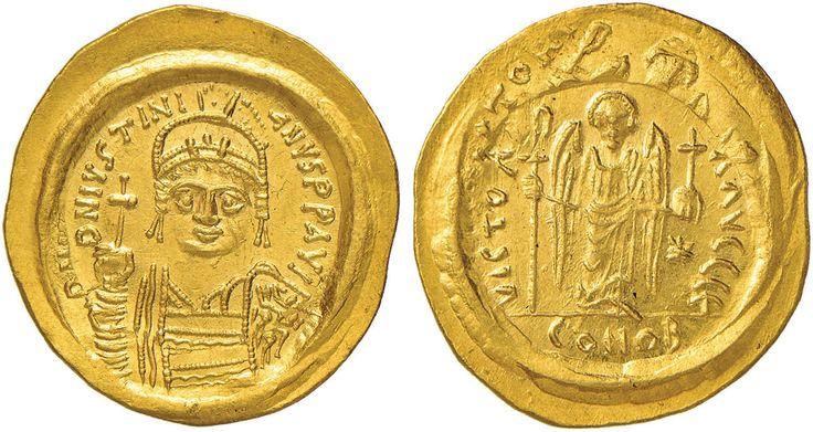 NumisBids: Nomisma Spa Auction 50, Lot 41 : BISANZIO Giustiniano I (527-565) Solido (Ravenna) Busto elmato di...