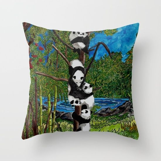 Six Baby Pandas in a Tree Throw Pillow
