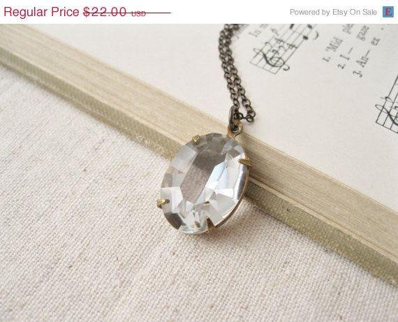 SALE Clear Rhinestone Necklace. Simple, Modern.  Vintage Transparent Jewel.  Dark Antiqued Brass.  Rustic Bridal Jewellery